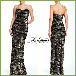 🏷 🆕 Sequin Striped Gold & Black Gown   La Femme
